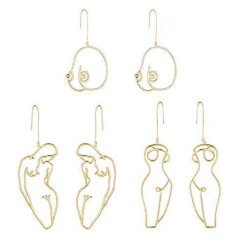 gszfsm001 - 3 pares de pendientes de aro de declaración de pecho abstracto, pendientes en forma de cuerpo femenino, joyas de rendimiento artístico