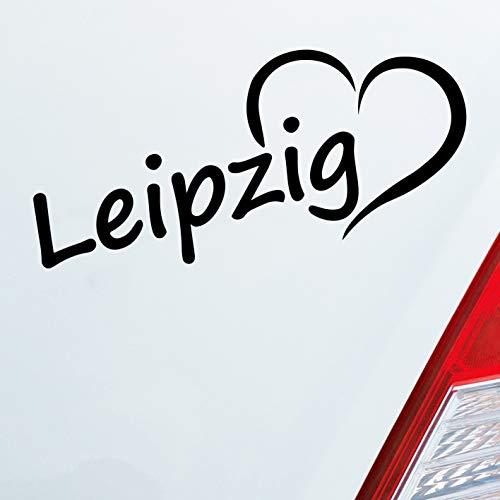Auto Aufkleber in deiner Wunschfarbe Leipzig Herz Stadt City Liebe Love Heimat 18,5x8 cm Autoaufkleber Sticker