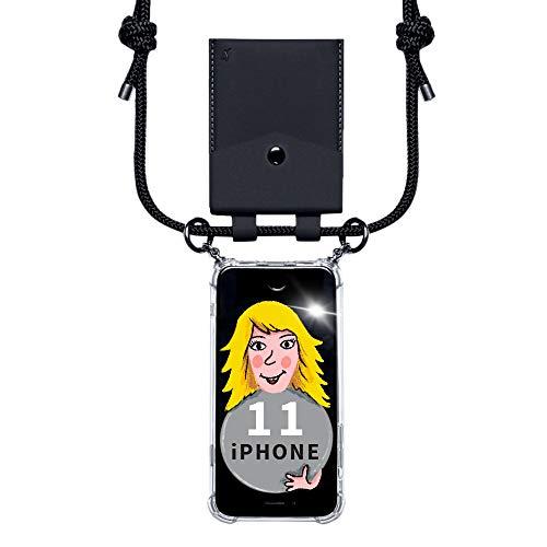 phonecover lover für iPhone 11 - Handy-Kette für Smartphones mit Tasche als Kartenetui für Kleingeld - Stabile Handyhülle zum Umhängen für iPhone - Smartphone Necklace (Schwarze Tasche)