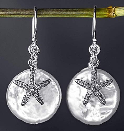 Starfish earrings with mother of pearl - Silver 925 Sterling - Hanging 2cm - Beautiful gift box