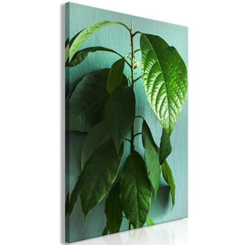 murando Cuadro en Lienzo Hojas 60x90 cm 1 Parte Impresión en Material Tejido no Tejido Cuadro de Pared impresión artística fotografía decoración Naturaleza Branch Plantas Verde b-C-0685-b-a