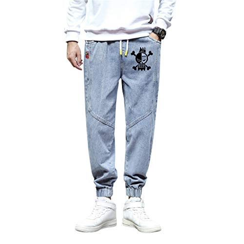SAFTYBAY New Anime One Piece Sweatpants for Men Luffy Zoro Cosplay Sweatpants Fashion Pants Drawstring Trousers Casual Jeans (FLQ-Blue,4XL)