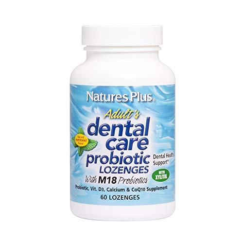 NaturesPlus Adults Dental Care Probiotic - Supplement for Teeth & Gum Health - Peppermint Flavor - 60 Vegetarian Lozenges (30 Servings)