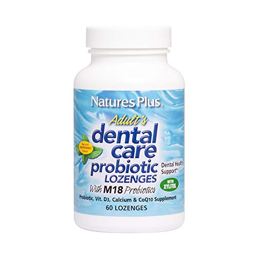 NaturesPlus Adults Dental Care Probiotic - Supplement for Teeth & Gum Health - Peppermint Flavor - 60 Vegetarian Lozenges (30 Servings)