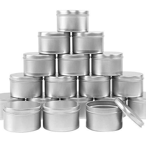 Leeko Candle Tin, 24 PCS Empty Jars Round Travel Jars Mini Storage Containers for Lip Balm, Lotion, Cream, Mini Candles, Cosmetics (Silver)