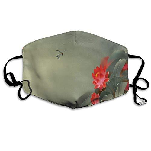 Komfortable Winddichte Maske, traditionelle japanische Malerei mit Lotusblüten in dunstigen Tönen Asiatisches Design für Erwachsene