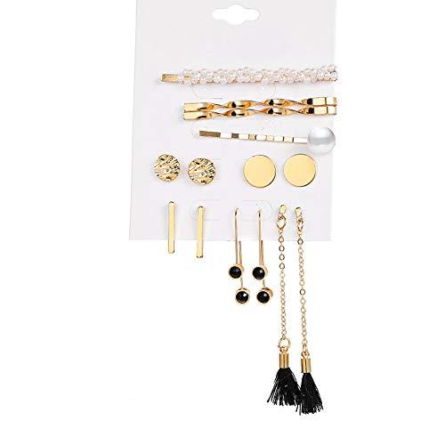 PINSHUO Moon Star Earring For Women Pearl Tassel Dangle Earrings Set Gold Metal Earrings Crystal Jewelry Gift FCS910