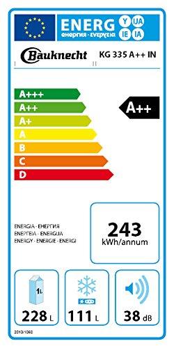 Bauknecht KG 335 A++ IN Kühl-Gefrier-Kombination / 189 cm Höhe / 243 kWh/Jahr / 228 l Kühlteil / 111 l Gefrierteil / Flüsterleise mit 38 dB / Edelstahl ProTouch