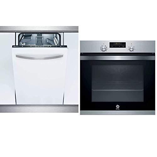 Balay 3VT304NA Totalmente integrado 9 cubiertos A+ lavavajilla Lavavajillas + 3HB4331X0 Horno Aqualisis, Inox, Rail Aq, 71 litros, Negro, Acero inoxidable