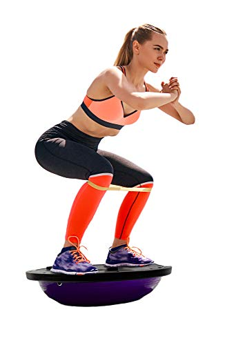 """Yoga Balance Trainer- 9.8"""" Half Ball Balance Trainer with Resistance Band-Extra Thick Stability Exercise Half Ball for Core Training Home Office Gym Workout,up to 660lbs (Purple)"""