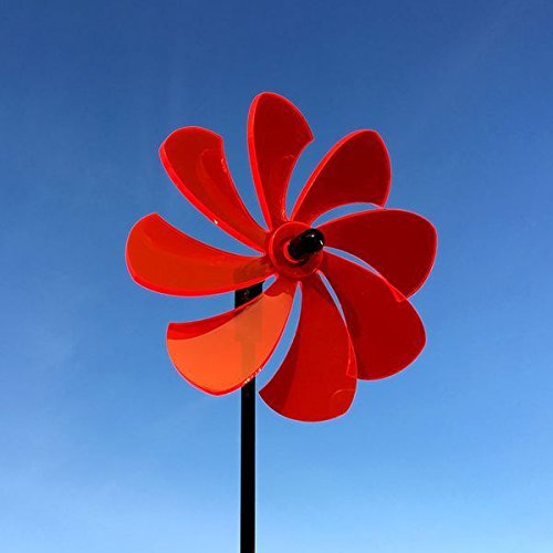 Elliot Lichtzauber - Sonnenfänger Windrad/stehendes Windspiel, 12cm, inkl. 100cm Stab, rot
