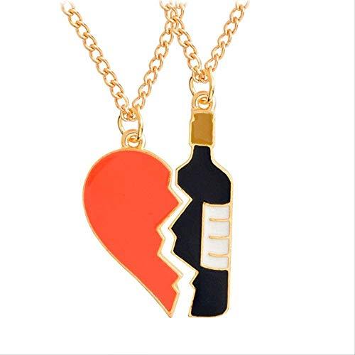 LBBYMX Co.,ltd Collar DIY Vino Botella Neckalce Hip Hop Broken Heart Pendant 1pcs/Set Charm Necklaces&pandants Couple Unisex Collar de Regalo
