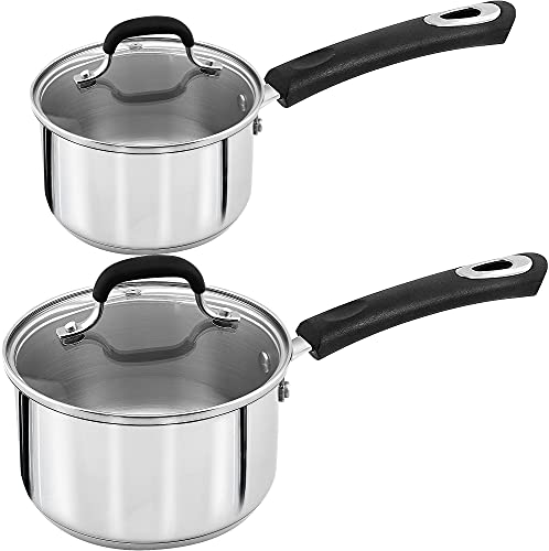 Utopia Kitchen Stainless Steel Saucepan Set - 1 Quart and 2 Quart - Glass Lid - Induction Compatible Stainless Steel