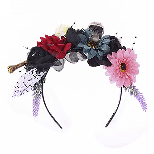 Faylay Halloween Party Skeleton Feather Blood Exaggerated Headdress Rose Flower Headband for Women (FG99-1-Feather)