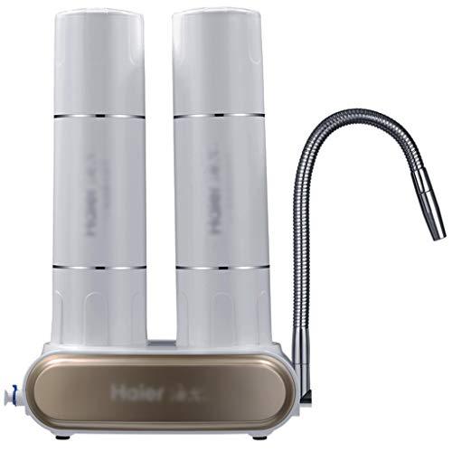 Leitungswasserfilter Terminal-Wasseraufbereiter Ohne Strom Küchen Und Badwasseraufbereiter Desktop-Dreifachfilter (Color : Weiß, Size : 31.5 * 22cm)