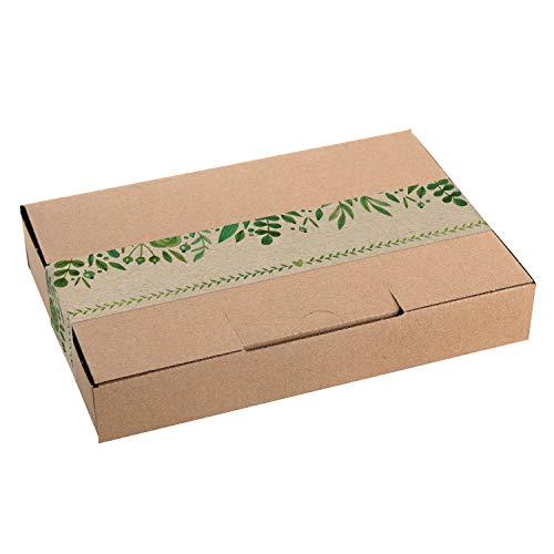 Logbuch-Verlag 10 Geschenkschachteln Kraftpapier MIT AUFKLEBER grün braun Verpackung DHL Maxibrief 24 x 16 x 4,5 cm Geschenkbox Geburtstag Hochzeit Schachtel natur