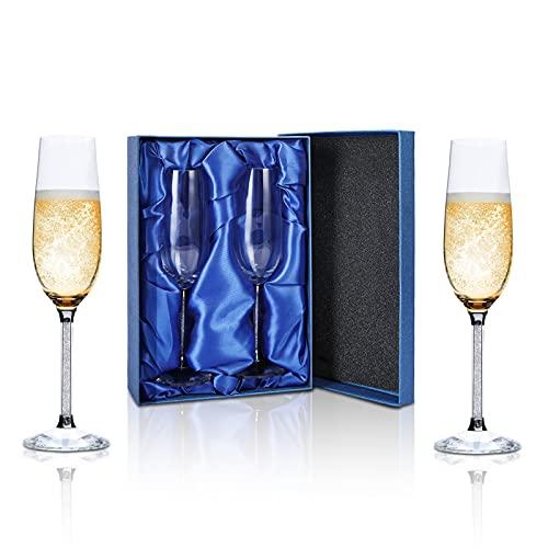 Set di 2 Flute Champagne, Smalibal 220ml Soffiaggio a Mano Bicchieri Champagne, Elegante Champagne Confezione Regalo per Donne, Uomini, Regalo Matrimonio, Anniversari, Feste, Natale
