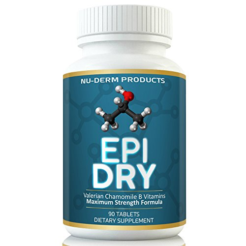 Nuderm Epi Dry HYPERHIDROSIS Treatment Pills Stop Sweating, Sweaty Hands Sweaty Feet Night Sweats Stress Sweat Sweaty Underarms Naturally Proven Antiperspirant Vitamins Treats Hyperhidrosis