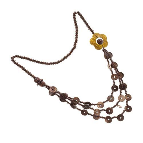 ifundom Collar retro de estilo bohemio con cáscara de nuez de coco, collar de perlas de madera vintage con varias capas del colgante del suéter del collar del collar