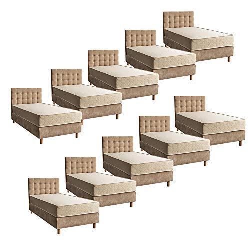 Comfort-Pur 10 Stück Hotel Betten 90x200cm Boxspringbett Bett Bonellmatratze und Kopfteil Hotelbedarf