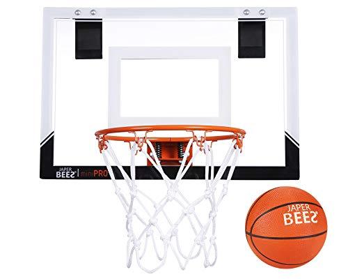 JAPER BEES Indoor Mini Basketball Hoop Over The Door & Wall Mount Indoor Basketball Hoop w/Shatterproof Backboard(Mini Pro)
