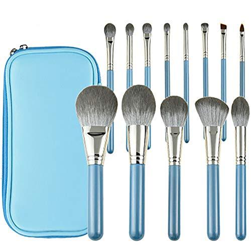 13Pcs Makeup Brush Set,Pinceaux De Maquillage Lily of The Valley, Ensemble De Pinceaux De Maquillage Petite Série Raisin with Premium Wooden Handles,Bleu