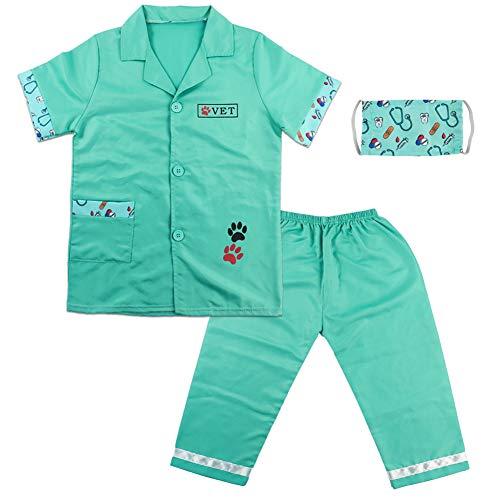 Fajiabao Arztkittel Kinder Tierarzt Kostüm - Rollenspiele Krankenschwester Arztkoffer Ostern Kindermit Maske Mäntel Geschenke ab 3 4 5 6 Jahre Jungen Mädchen