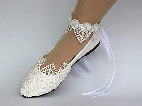 Amazon Com Sweet Women Stylish Pearls Flat Wedding Shoes For Bride 3d Floral Appliqued Prom High Heels Plus Size Pointed Toe Lace Bridal Shoes Handmade