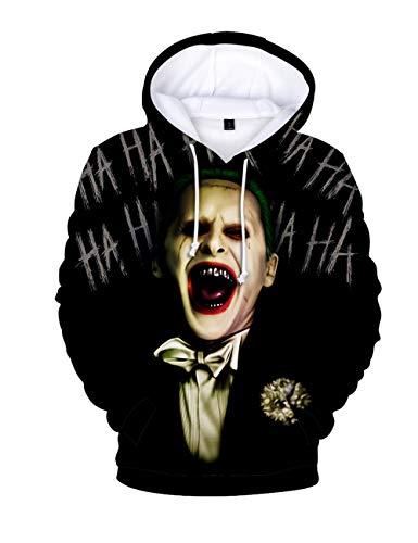 Herren Kapuzenpullover Halloween, Unisex Männer Damen Horror Clown Joker Poker 3D Druck Hoodie Jungen Ugly Shantou Cosplay Pullover Kinder Skull Pulli Mädchen Sweatshirt Oberteile Kostüm (J,XL)
