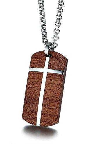 PJJewelry - Collar con colgante de acero inoxidable para hombre, diseño de koa hawaiano con incrustaciones católicas, estilo militar