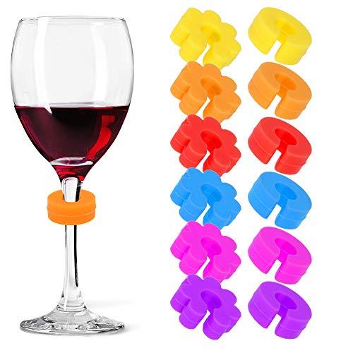 AIM Cloudbed 12 STKS Wijnglas Markers Siliconen Glas Bedels Set Siliconen Glas Identifiers in Verschillende Kleur en Vorm Perfect voor Feesten