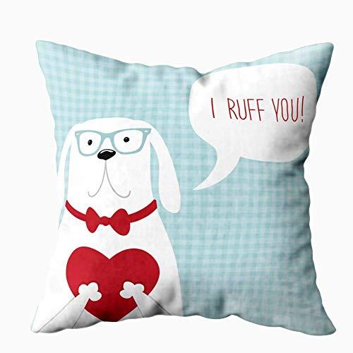 N\A Fundas de almohada navideñas, Joy Christmas Funda de almohada con tarjeta de día vintage para cachorros y corazón, con burbujas, Note You I Ruff