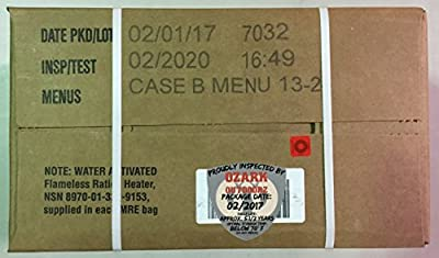MRE 2020 Inspection Date Case, 12 Meals with 2020 Inspection Date, 2017 Pack Date B Case . Military Surplus Meal Ready to Eat.