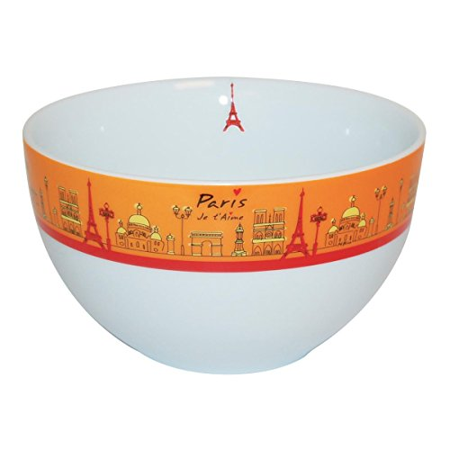 Incidence Paris 61742 Bol-Paris Je t'aime, Porcelaine, Blanc/Orange, 14x14x8 cm