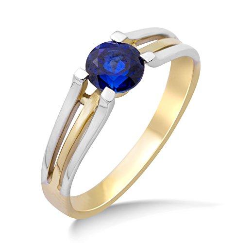 Miore Ring Damen Bicolor Gelbgold/Weißgold 9 Karat / 375 Gold Solitär Blauer Saphir
