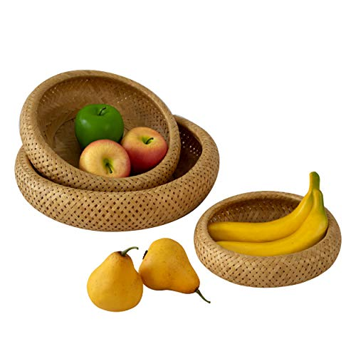 Cestas tejidas a mano para frutas, dulces, pan, cesta de almacenamiento de mimbre, para llaves, cartera, teléfono celular y artículos pequeños