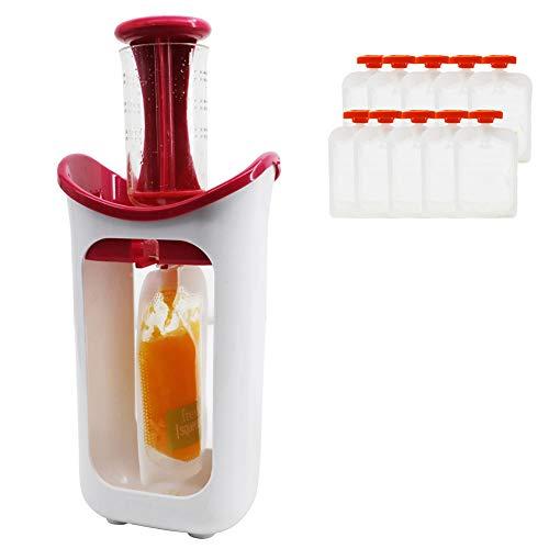 NEWMAN771Her - Quetscher de puré de frutas, estación para recién nacidos con 10 bolsas, dispensador de zumos de zumos de bebés, para alimentos para bebés