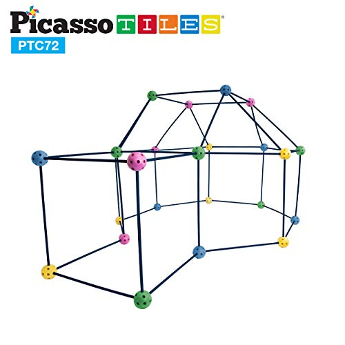 PicassoTiles Kids Fort Building Playset 72 Piece Indoor and Outdoor Toy Set Fort Construction Builders Blocks Toys for Kids Boys Girls STEAM Learning Kit Castle System Tunnel Tent Rocket Pretend Play