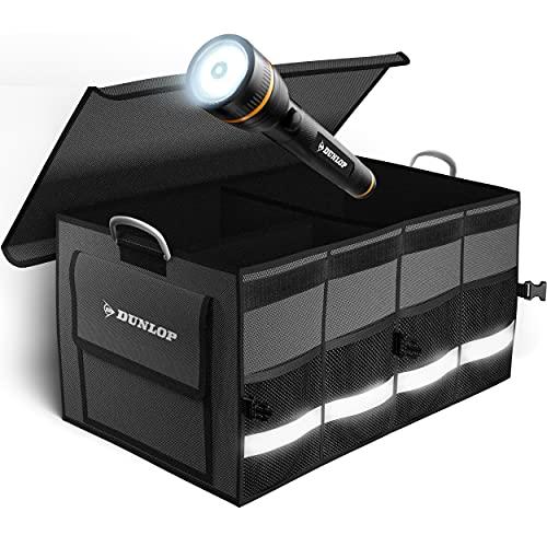 Dunlop Kofferraumtasche Auto Kofferraum Organizer - Hochfeste faltbare Auto Organizer Box mit Notfall Taschenlampe I Auto Zubehör Innenraum Kiste in Autoausrüsterqualität I Car Box Boxen Taschen
