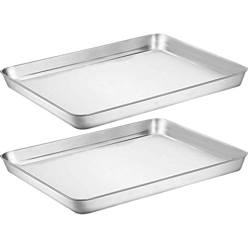 Baking Sheet Cookie Sheet Set of 2, Umite Chef Stainless Steel Baking Pans Tray Professional 18 inch, Non Toxic & Healthy, Mirror Finish & Rust Free, Easy Clean & Dishwasher Safe