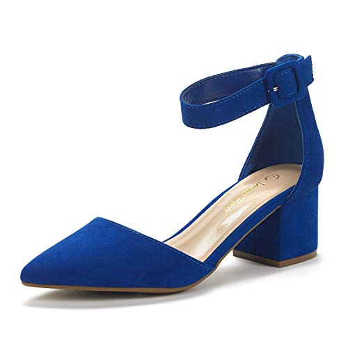 DREAM PAIRS Women's Annee Royal Blue Low Heel Pump Shoes - 8 M US