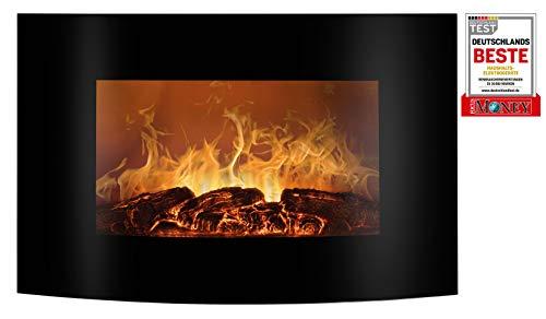 Bomann EK 6022 CB Elektrischer Kaminofen mit Flammensimulation und Heizlüfterfunktion, Ambiente-Beleuchtung, Multifunktionsdisplay, Steuerung per Fernbedienung, Wandmontage, schwarz