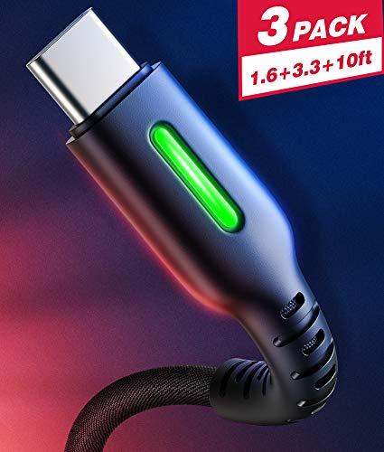INIU Typ USB C Kabel, 【3 Stück 0,5m + 1 m + 3 m】 3A Typ C Schnellladekabel QC, Datenkabel mit geflochtenem Nylon für Samsung Galaxy S10 S9 S8 Huawei 10 9 Huawei Google Pixel OnePlus LG