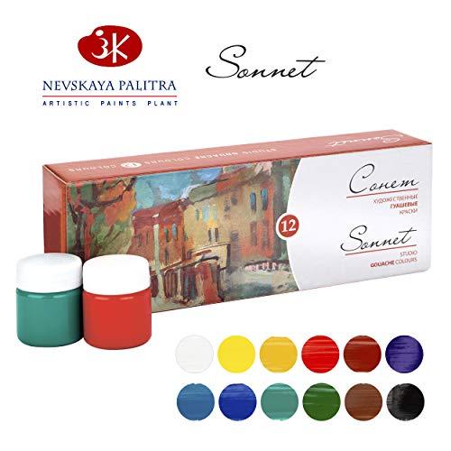 Sonnet Artistic Gouache Farben Set | Hochwertige 12x40ml Gouachefarben | Gouache Malfarben Set von Nevskaya Palitra