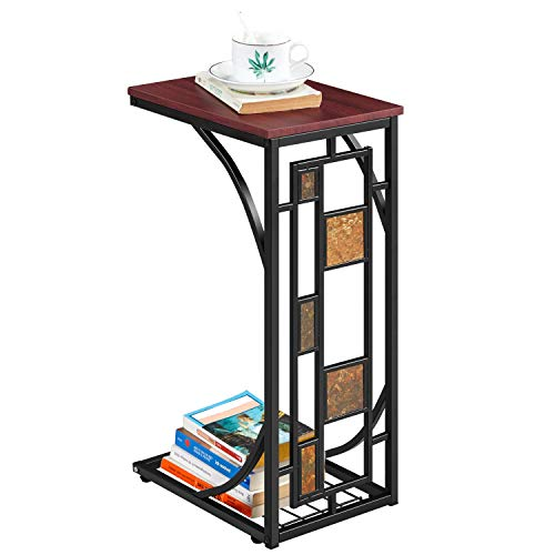 Yaheetech Modern Living Room Sofa Side Table Iron Art Coffee Tables with Storage Shelf