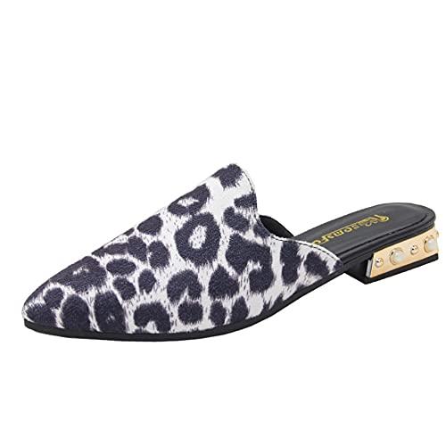 Sandalias para mujer de verano de moda de perlas de leopardo sin respaldo al aire libre, negro y blanco, 36.5 EU