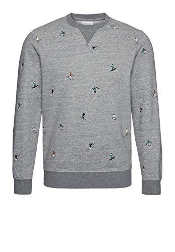 ARMEDANGELS Herren Sweatshirt aus Bio-Baumwolle - Henri Skiers - S Mid Grey Melange Sweat Shirt Rundhals