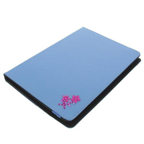 foto-kontor Tasche Strass Blume für Archos 101 Copper 101 Helium 4G Book Style Schutz Hülle Buch blau