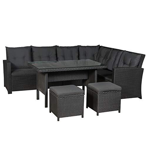 ArtLife Polyrattan Sitzgruppe Lounge Santa Catalina schwarz – Gartenmöbel-Set mit Eck-Sofa & Tisch - bis 6 Personen - wetterfest & stabil