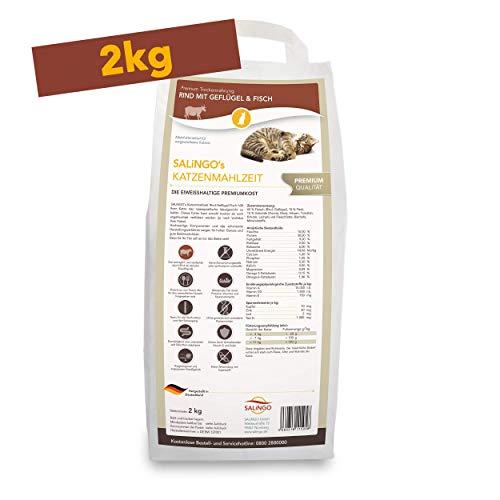 SALiNGO Premium Katzenfutter trocken | Rind, Geflügel und Fisch | ohne Zucker | 2kg